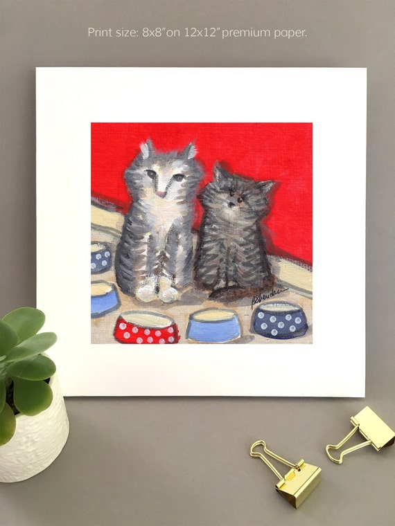 Two tabby cats painting,  whimsical art, red background, art for kitchen, polka dots, gift for cat lovers Giclée print by Bernadette Artwork
