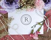 Self Inking Return Address Stamp Custom round return address Monogram rubber stamp --2615