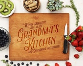 Personalized Cutting board, Custom Engraved Cherry wood, Grandma's Kitchen, Mother's Day Cutting Board  --21114-CUTB-003