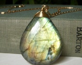 Giant Labradorite Necklace, Wirewrapped Goldfilled Briolette Pendant Necklace, Dazzling Flashy Golden Green Labradorite Pendant Gold Filled