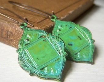 Moroccan Patina Earrings, Arabesque Earrings, Verdigris Patina, Bohemian Earrings, Brass Boho Earrings