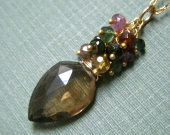 Beer Quartz Cluster Necklace, Gold Filled Necklace Luxe Gemstone Pendant, Tourmaline Wirewrapped Gemstone Pendant