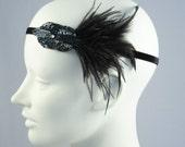 Mini Deco Flapper Feather Headband With Beaded Applique Gunmetal Black Or Cobalt Blue