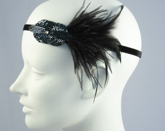 Mini Deco Flapper Feather Headband With Beaded Applique Gunmetal Black Or Cobalt Blue