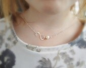 Flower girl necklace, infinity necklace with pearl, freshwater pearl necklace, girls necklace, grow chain, silver necklace, dainty necklace