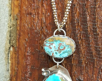 Tide Pools - Rainbow Calsilica and Nevada Turquoise Artisan pendant