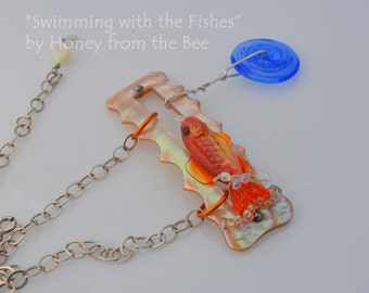 Swimming with the Fishes - Goldfish Necklace - Summer Artisan necklace