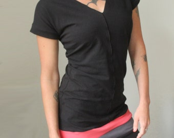 tunic dress/V-neck/short sleeved/Black with Coral Pink and Cement Grey