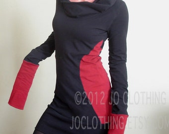 extra long sleeved hooded tunic dress Black/Red color block sides