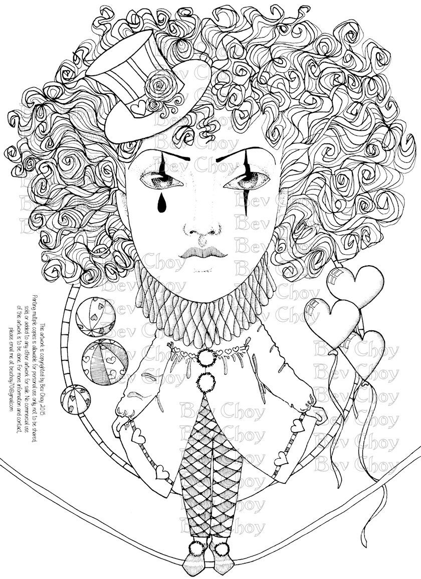 Adult Coloring Page Harlequin By BevChoyArt On Etsy