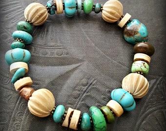 Boho, Gypsy, Turquoise, Wood, End of Day, Clay, Southwest, Stretchy Bracelet, Bangle, Stack-able Bracelet