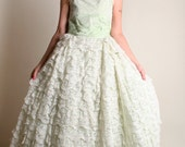 Vintage 1950s Prom Dress - White and Mint Green Ruffle Cupcake Dress - Small