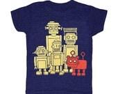 KIDS Vintage Robots - T-shirt Retro Futuristic RobotDog Funny SciFi Science Fiction Cute Future Dog Robot Geek Nerd Machine Triblend Tshirt