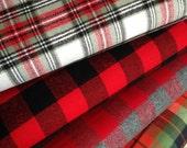Flannel fabric bundle, Plaid flannel, Red Plaid, Red Fabric, Gray fabric, Lumberjack, Apparel fabric, Kaufman, Bundle of 4, Choose the cut