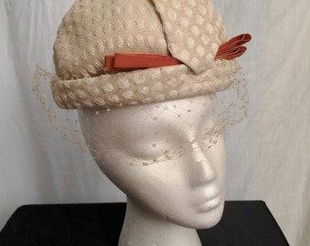 Vintage 1960s Mod Designer Hattie Carnegie Lady Hat Veiled Derby