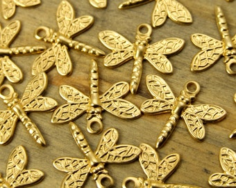Dragonfly Charms - 12 pcs - Yellow Brass - Small Dragonfly Charms - Patina Queen - Raw By the Dozen