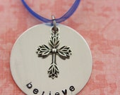 Hand Stamped Believe Christmas Ornament - ON SALE