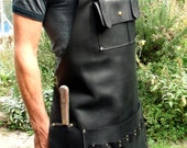 Black Leather Apron with Knife Sheath Pocket