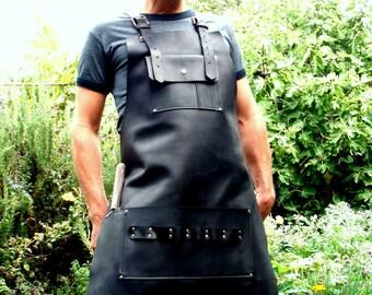 Leather BBQ Apron with Knife Sheath Pocket