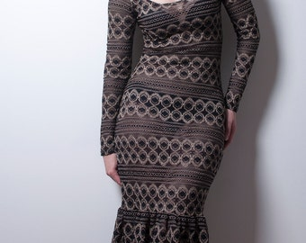 Black and Gold Lace Hobble Dress with Long sleeves-Made to Order