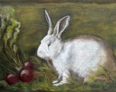 RABBIT and BEETS! Original Oil Painting, Vermont country art, Archival PRINT of original painting 8 by 10 other sizes