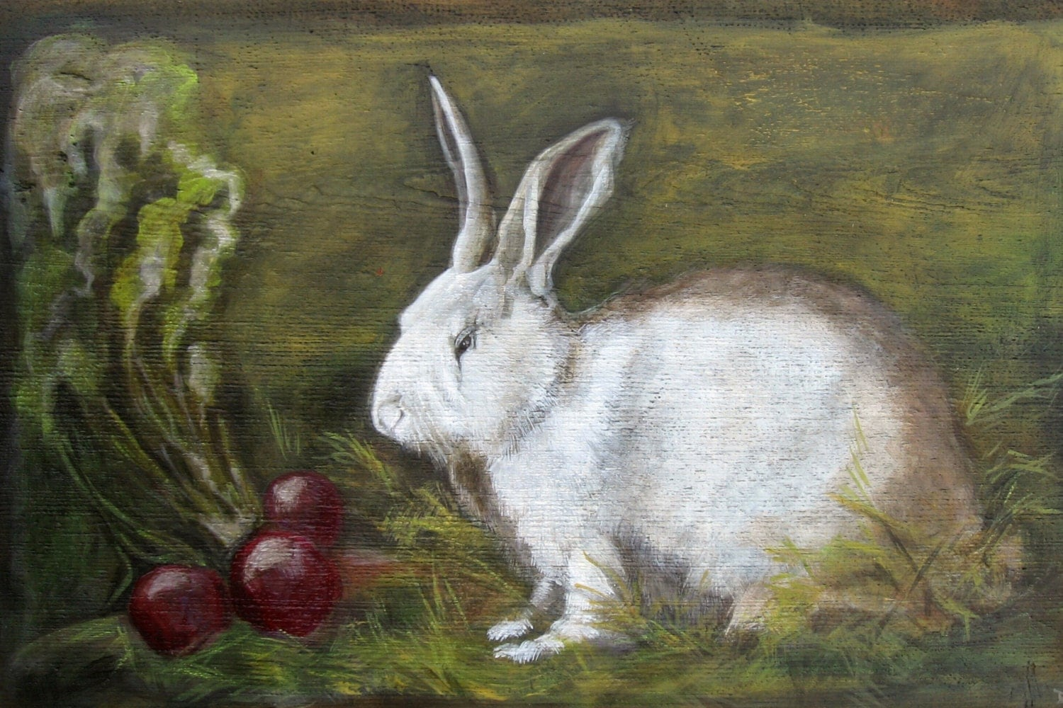 Rabbit And Beets Original Oil Painting Vermont Country Art