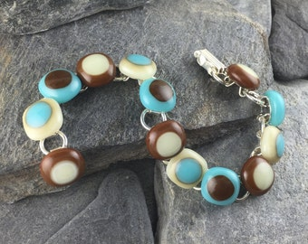 Earthy Fused Glass Bracelet / Modern Jewelry / Turquoise, Brown and Ivory / Gift for her / Everyday Jewelry / Handmade in Texas