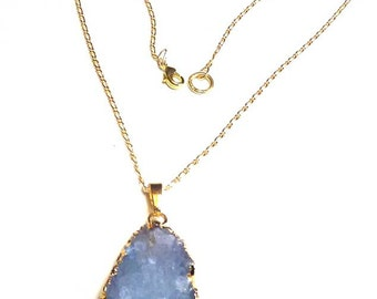 Druzy Crystals Dainty Gold Chain Pendant Necklace