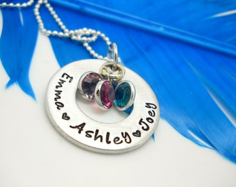 Personalized Necklace - Mother's Personalized Necklace Personalized Washer Necklace hand stamped Kids Names Necklace custom jewelry