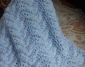 Crochet Baby Doll Blanket Afghan Scallop edge 21 x 23 inches RIP05 Boy  Blue White