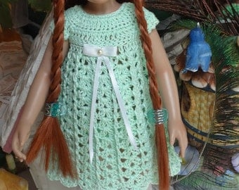 Crochet clothes 10 11 12 inch Kish Bitty Leeann doll Dress Hat Panty Maryjane Mint Green White Bead