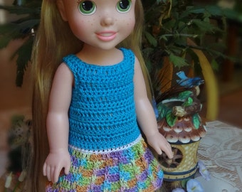 Crochet outfit 14 1/2 inch Disney Princess Toddler Doll Dress Rainbow Aqua Turq White