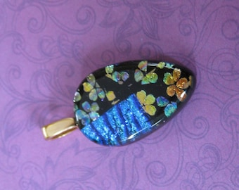 Floral Pendant, Blue Dichroic, Flower Dichroic, Fused Glass Pendant, Ready to Ship, Fused Glass Jewelry - Regina -4671-5