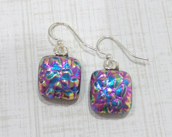 Earrings, Textured Pink and Blue Dichroic Earrings, Dangle Earrings, Fused Glass Jewelry - Passionate - -5