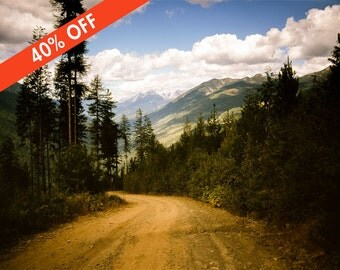 ON SALE 40% Off - Canadian Rocky Mountain Lookout Road Photography, Dirt Road Print, Serene Mountains Pass, Slocan Ranges, Kootenay