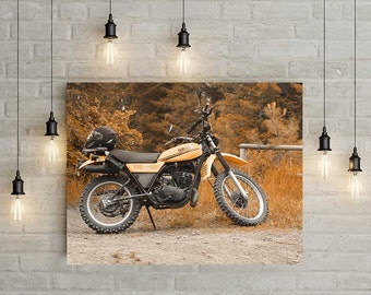 Motorcycle Wall Art, Vintage Motorcycle Decor, Yamaha Enduro, Retro Motorcycles Photograph, Yellow Home Decor, Loft Art, Bar Wall Art