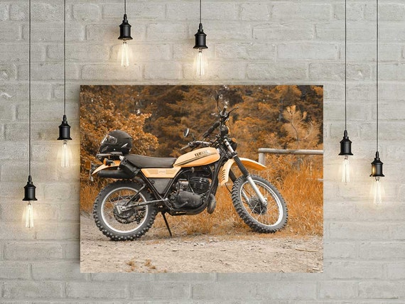 Motorcycle wall art vintage motorcycle decor yamaha enduro for Decoration yamaha
