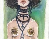 Suns - watercolor illustrations