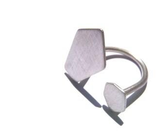 "Polygon geometric ring 04 sterling silver matte, a minimal ""U"" ring"