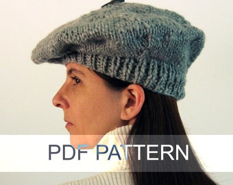 Branda Beret, PDF Knitting Pattern, Knit, Instant Download, Digital Patterns, Slouchy Hat, Women, Supplies, Winter, Tam, Hand Knit Items