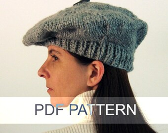 Beret Knit Pattern, PDF Knitting Pattern, Instant Download, Digital Pattern, Knitting Patterns, Slouchy Hat Pattern, Women Hat Pattern