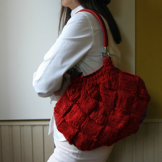 Red Wool Purse, Knit Boho Shoulder Bag, Tote Bag, Womens Purses, Winter Accessories, Hand Knitted Items, Cute Gifts for Her, Ready to Ship