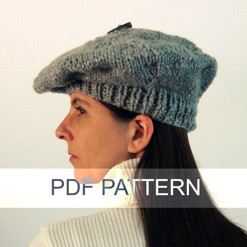 Slouchy Hat Knitting Pattern Circular Needles : Branda Beret PDF Knitting Pattern Knit Instant Download