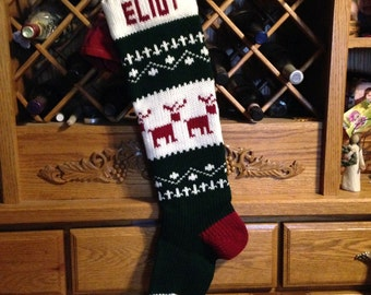 Christmas Stocking, Stockings, personalized, knitted, reindeer, deer, wedding, new baby, Moeggenborg Sugar Bush, lined, unlined