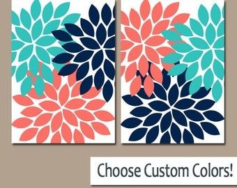Coral Turquoise Navy WALL ART Canvas or Prints Bathroom Artwork, Bedroom Pictures, Nursery Dahlia Flower Burst Petals Set of 2 Home Decor