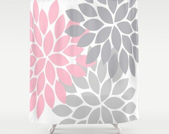 pink grey shower curtain. Pink Gray Flower SHOWER CURTAIN  Burst Petals Custom MONOGRAM Personalized Floral Bathroom gray shower Etsy