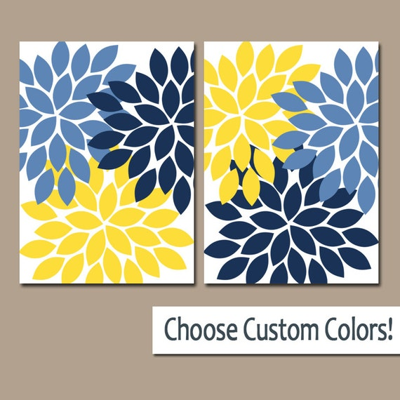 Blue And Yellow Bathroom Decor: Navy Blue Yellow WALL ART Canvas Or Prints Bathroom Artwork
