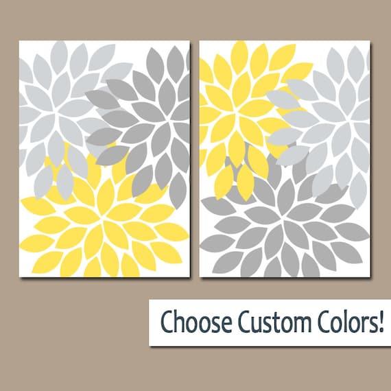 Bathroom Art Grey: Yellow Gray WALL ART Canvas Or Prints Bathroom Decor