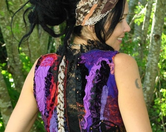 Sacred Geometry Sleeveless Wrap Top Seed of Life Vest Festival Clothing