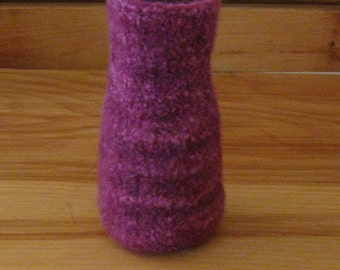 Varigated Reddish-Purple Merino Wool Felted Vase - In Stock - Ready to Ship